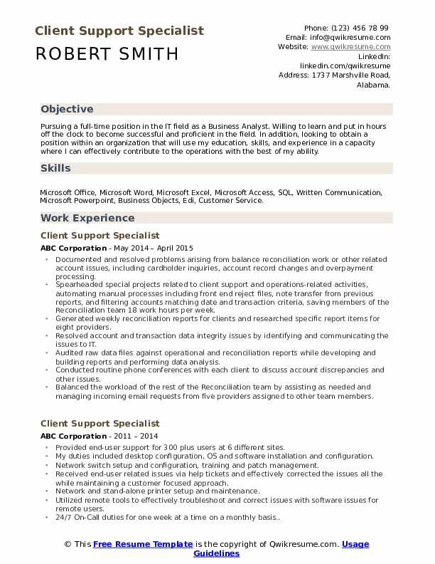 Client Support Specialist Resume Sample