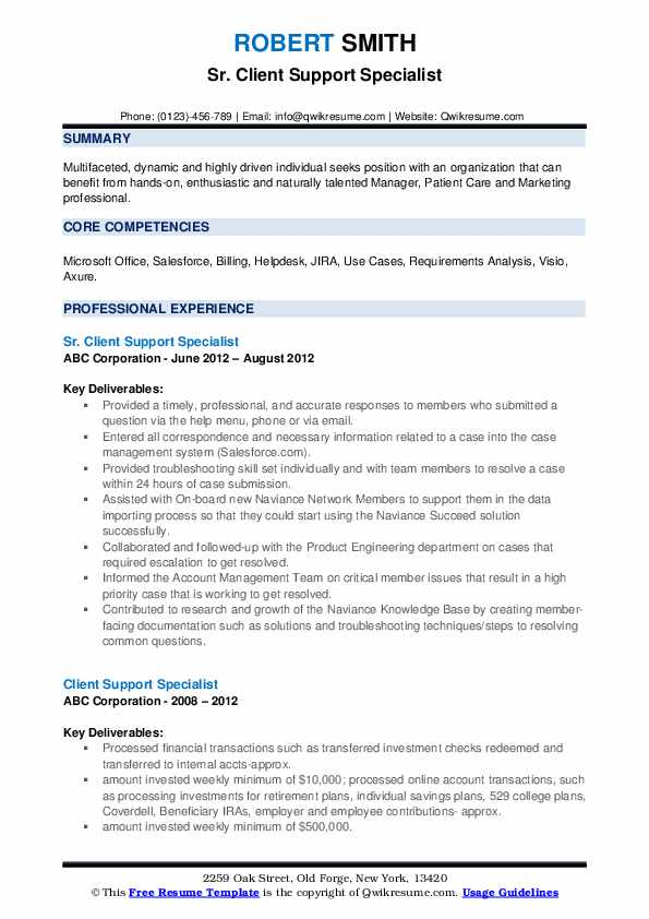 Sr. Client Support Specialist Resume Example
