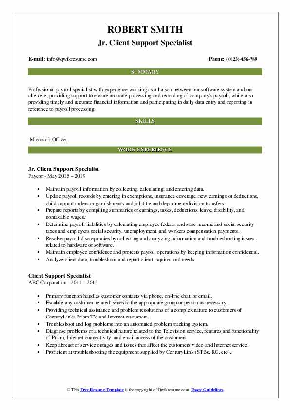 Jr. Client Support Specialist Resume Template