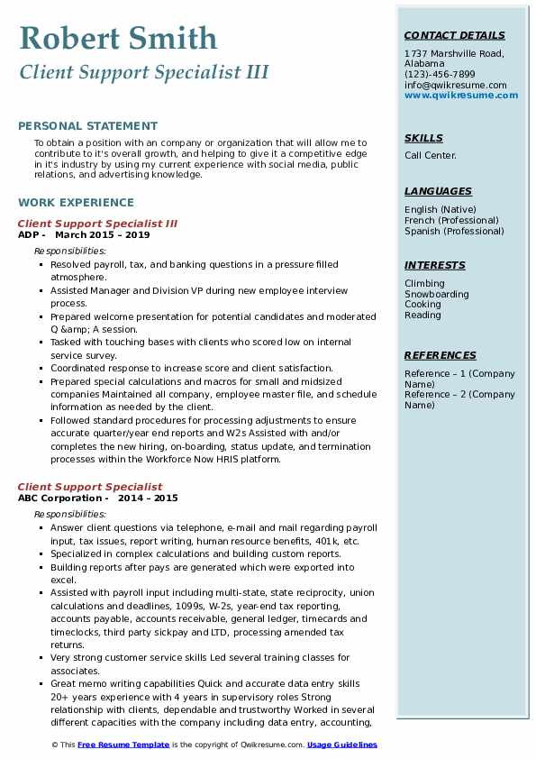 Client Support Specialist III Resume Example
