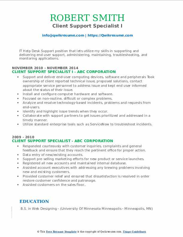 Client Support Specialist I Resume Example