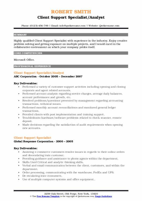 Client Support Specialist/Analyst Resume Format