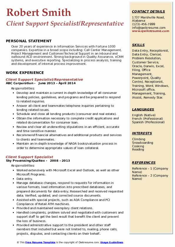 Client Support Specialist/Representative Resume Example