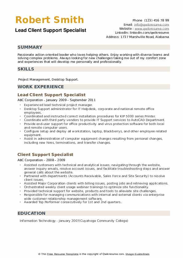 Lead Client Support Specialist Resume Sample