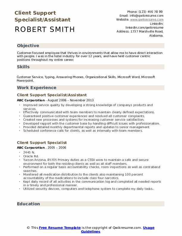 Client Support Specialist/Assistant Resume Example