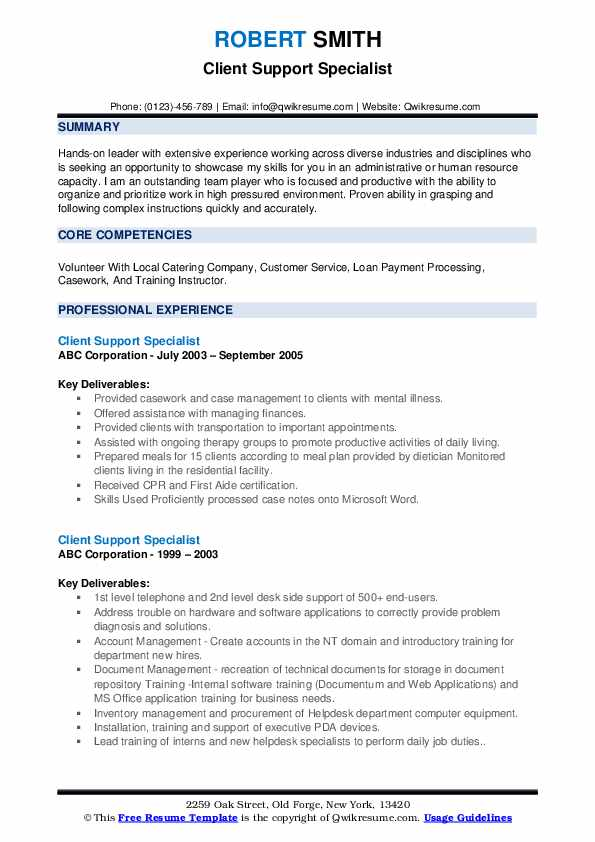 Client Support Specialist Resume example