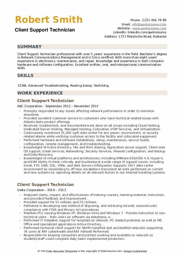 Client Support Technician Resume example