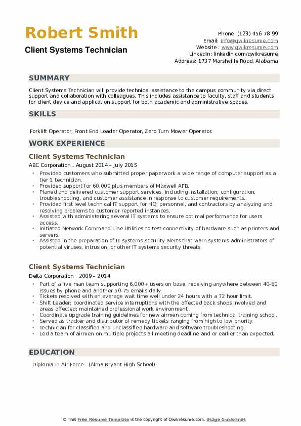 Client Systems Technician Resume example