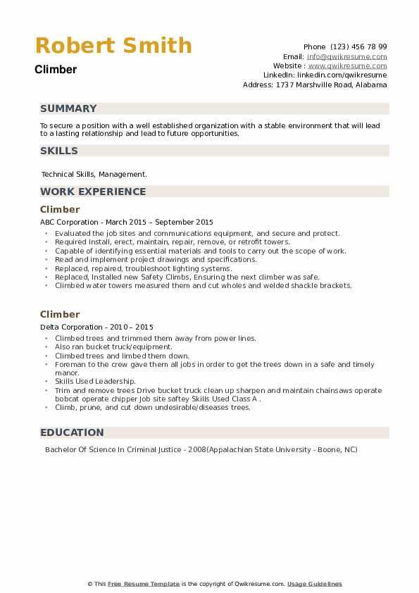 Climber Resume example