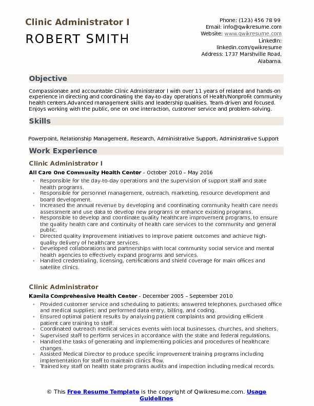 Clinic Administrator I Resume Model
