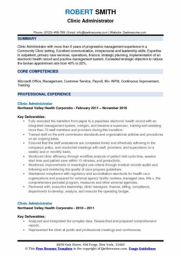 Clinic Administrator Resume Model