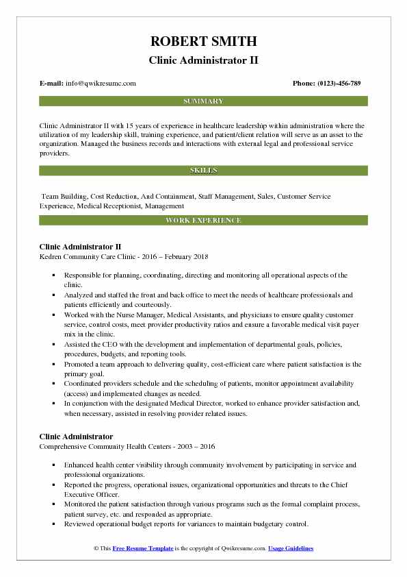 Clinic Administrator II Resume Model