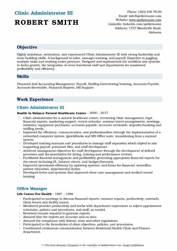 Clinic Administrator III Resume Example