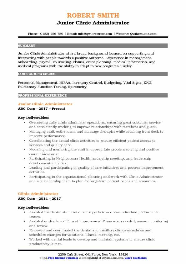 Junior Clinic Administrator Resume Template
