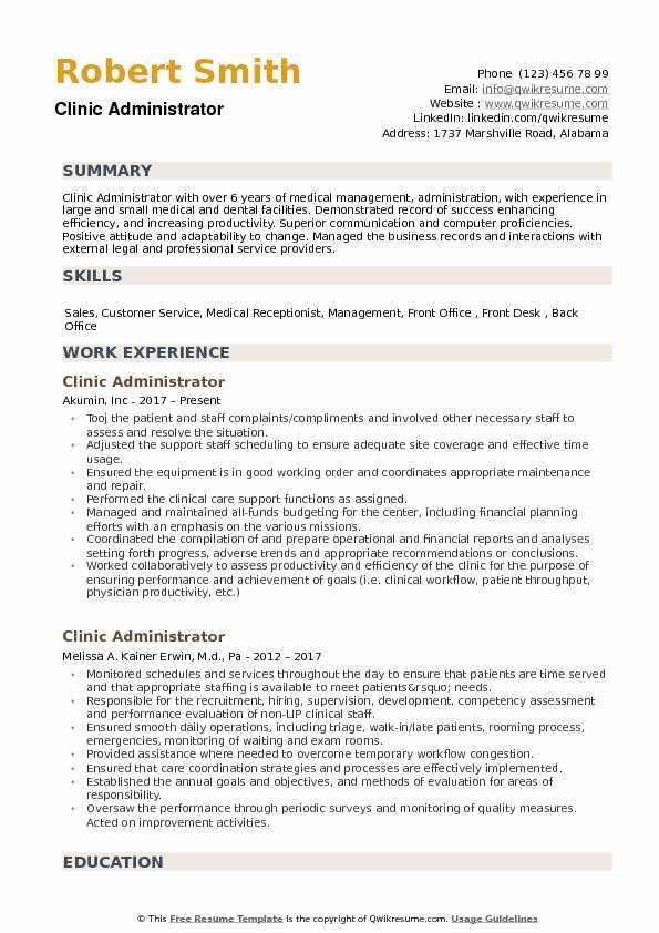 Clinic Administrator Resume example