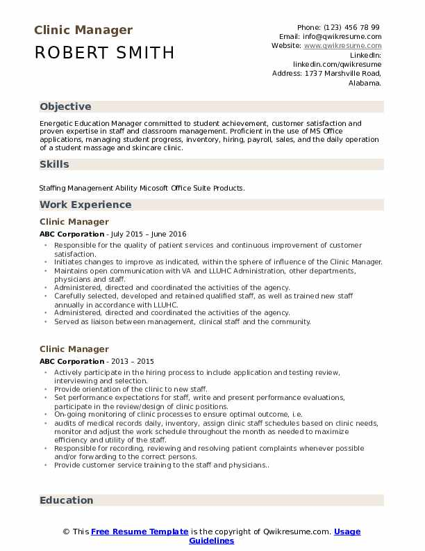 Clinic Manager Resume Format