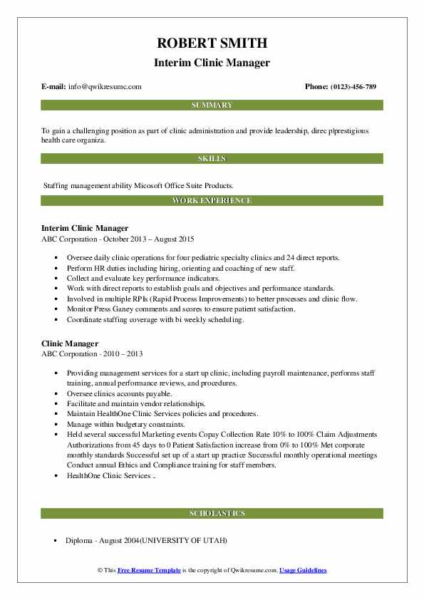 Interim Clinic Manager Resume Sample