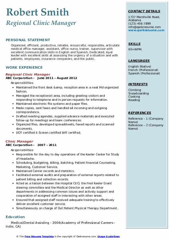 Regional Clinic Manager Resume Sample