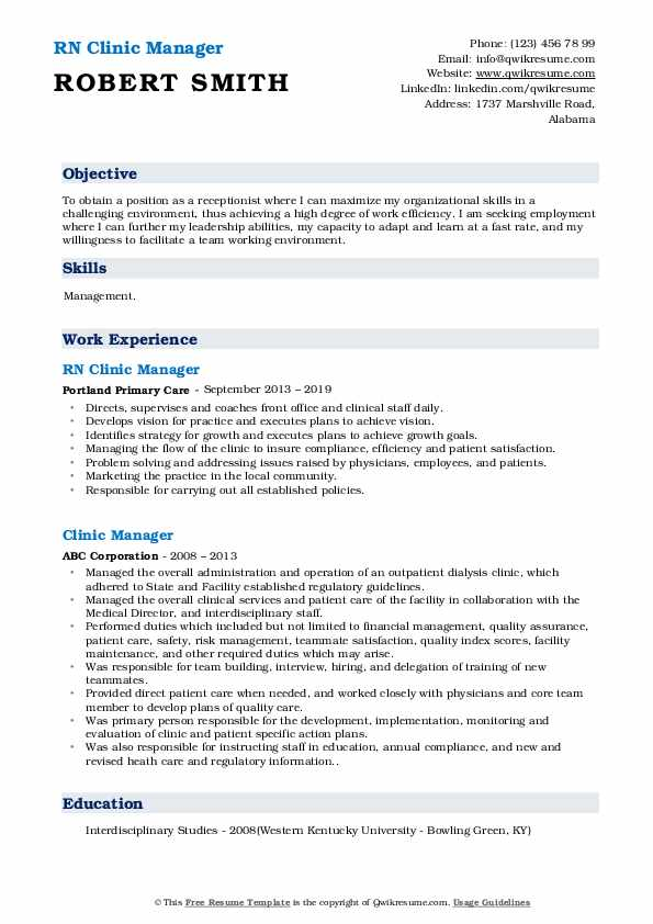 RN Clinic Manager Resume Sample