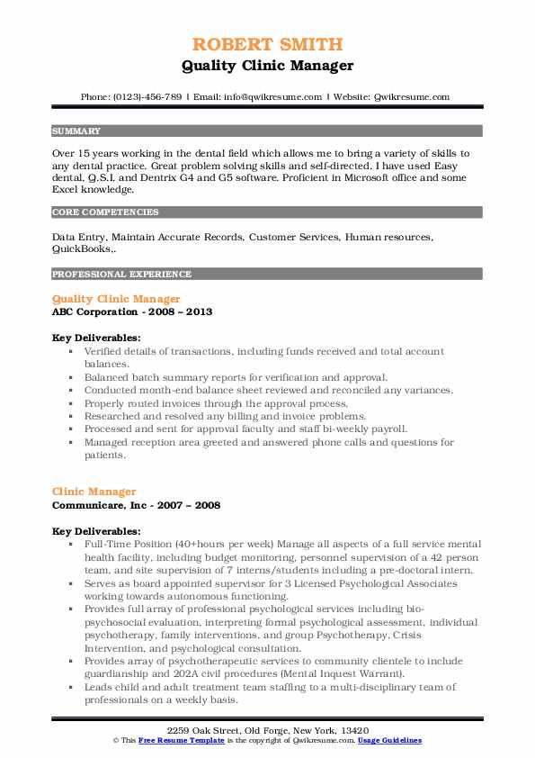 Quality Clinic Manager Resume Template