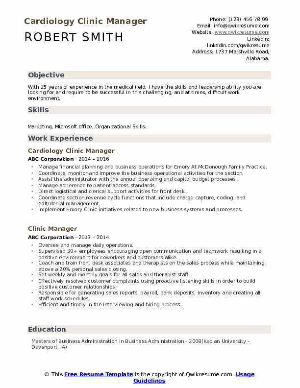Cardiology Clinic Manager Resume Model