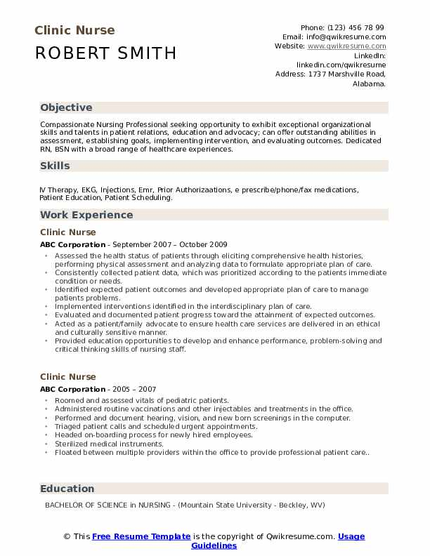 clinic nurse resume samples