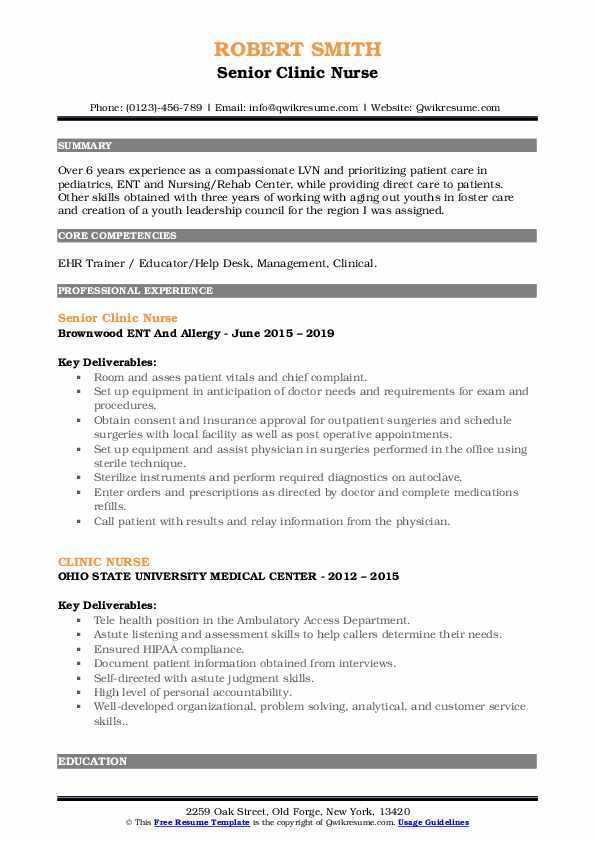 Outpatient clinic nurse resume professional cv ghostwriting website for masters