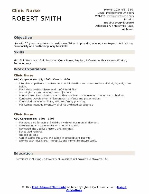 Clinic Nurse Resume example