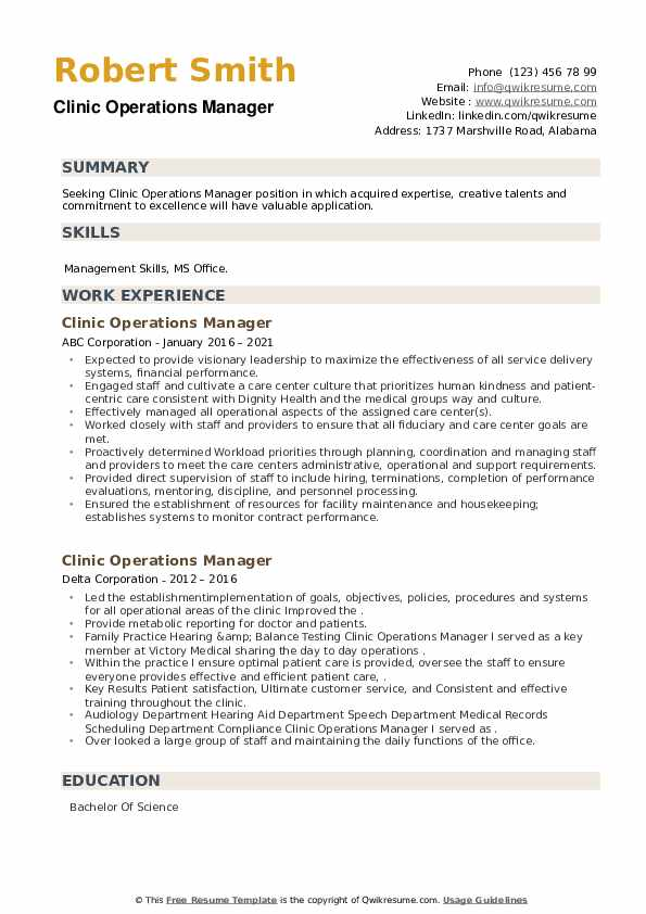 Clinic Operations Manager Resume example