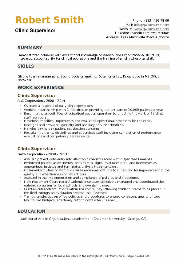 Clinic Supervisor Resume example