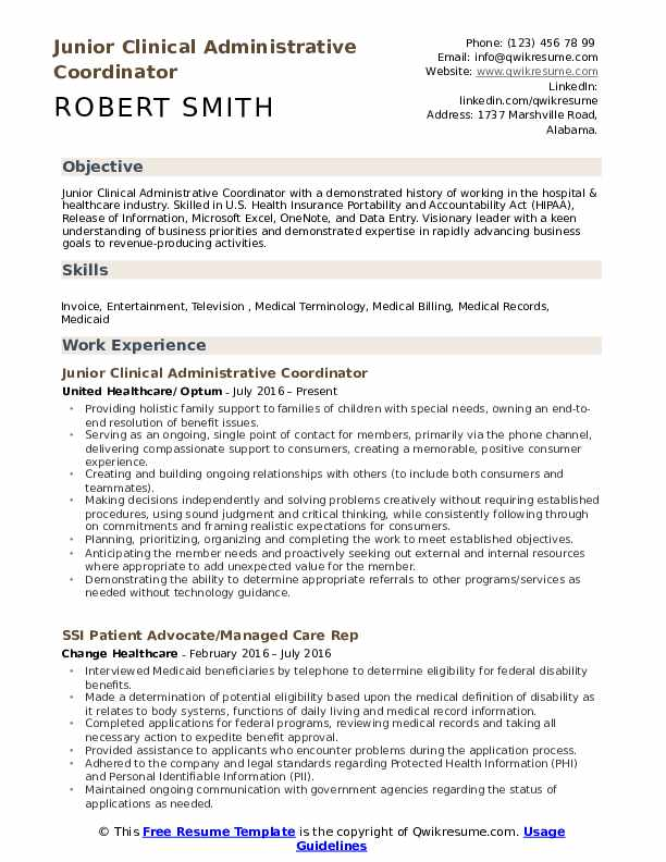 Junior Clinical Administrative Coordinator Resume Template