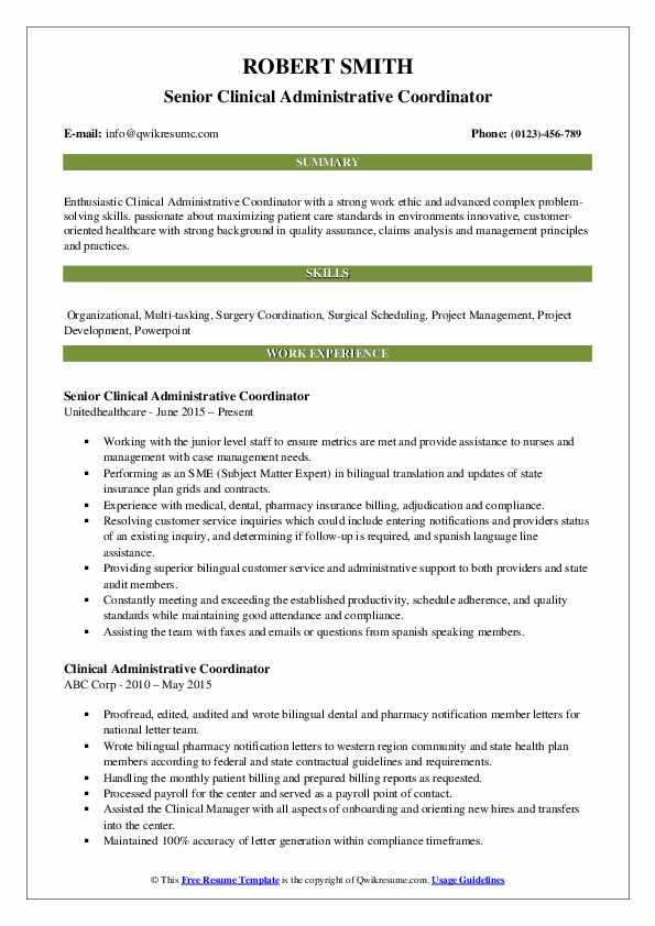Senior Clinical Administrative Coordinator Resume Sample