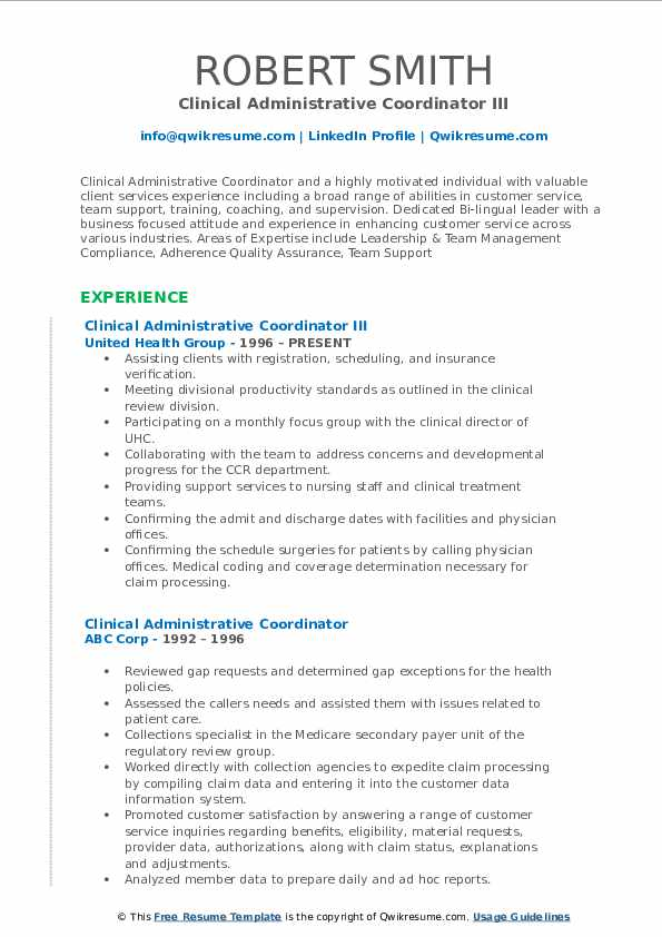 Clinical Administrative Coordinator III Resume Template
