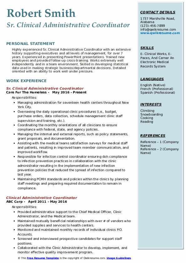 Sr. Clinical Administrative Coordinator Resume Example