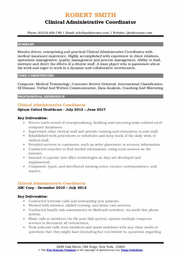 Clinical Administrative Coordinator Resume Samples