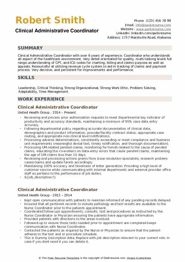 Clinical Administrative Coordinator Resume Model