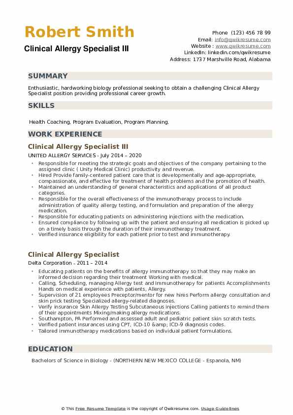 Clinical Allergy Specialist Resume example