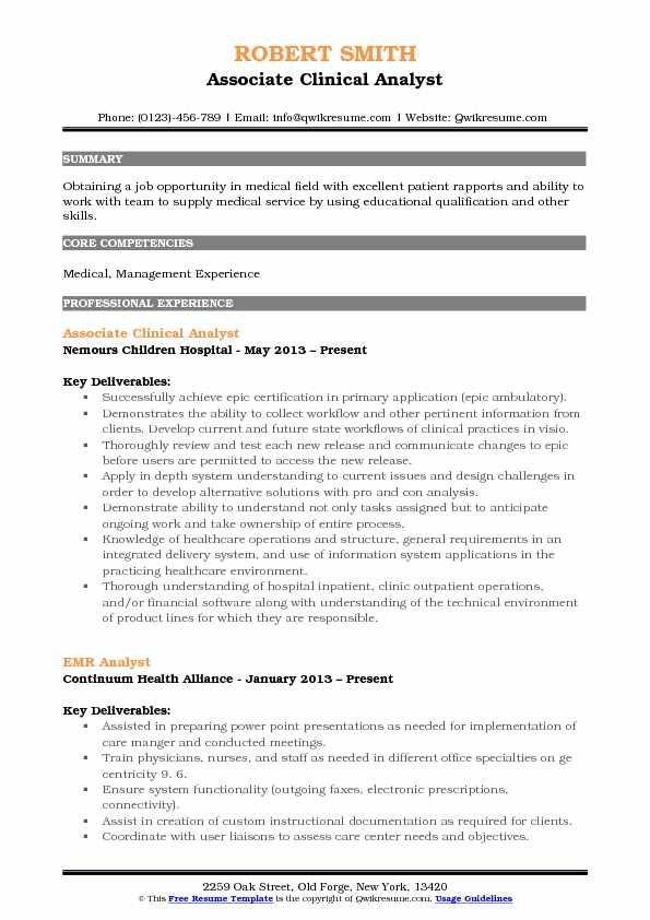 associate clinical analyst resume sample - Sample Resume Emr Analyst