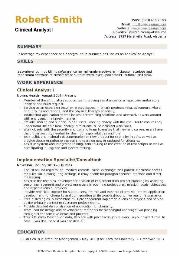 clinical analyst resume samples