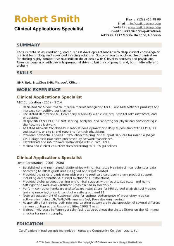 Clinical Applications Specialist Resume example