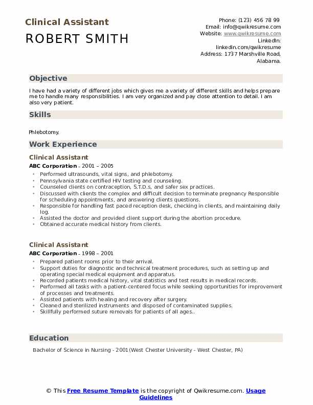 Clinical Assistant Resume Example