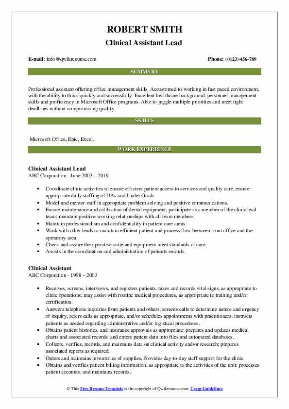 Clinical Assistant Lead  Resume Format