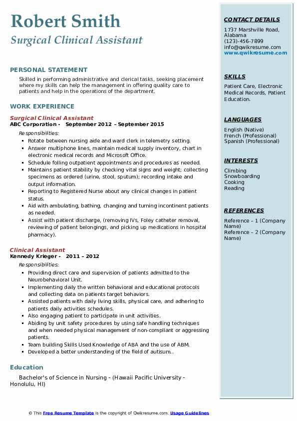 Surgical Clinical Assistant Resume Model