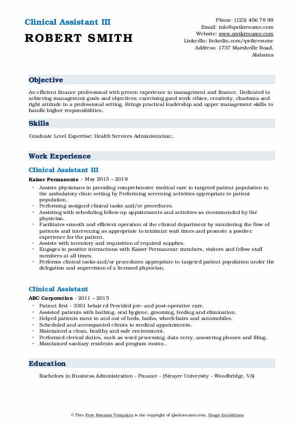Clinical Assistant III Resume Sample