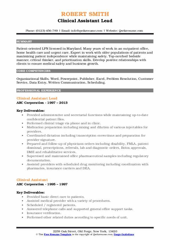 Clinical Assistant Lead Resume Example