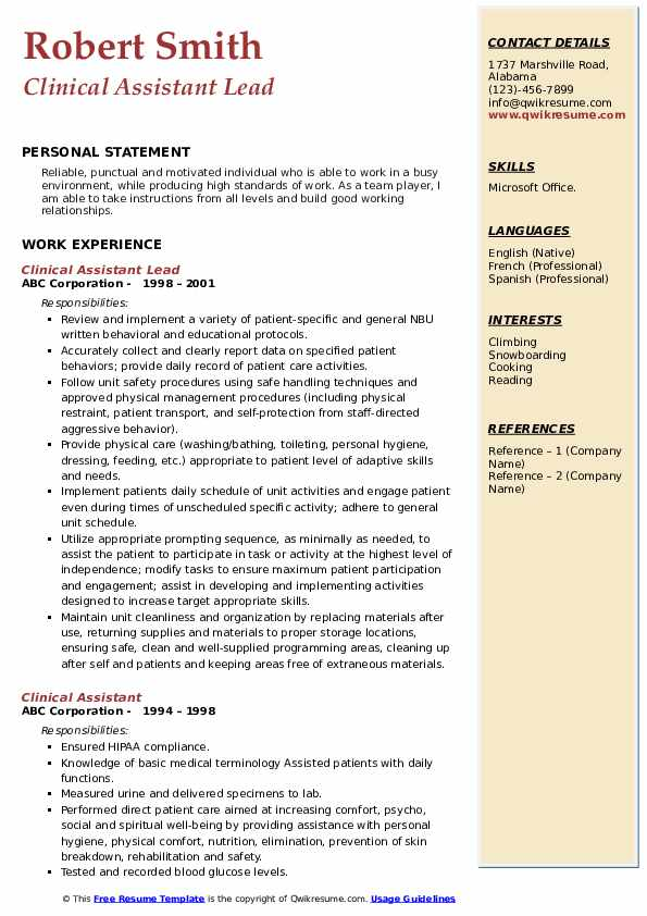Clinical Assistant Lead Resume Template