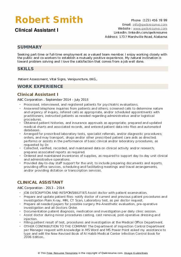 Clinical Assistant I Resume Sample