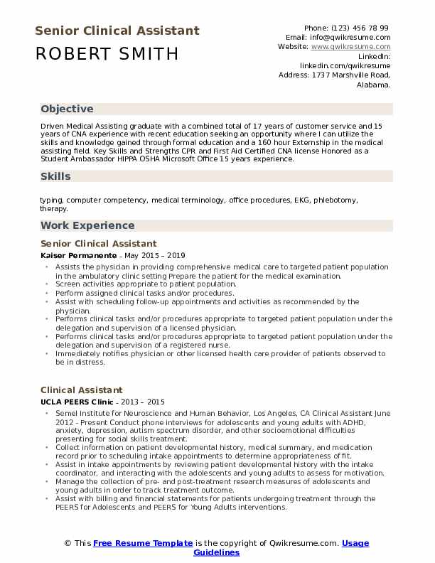 Senior Clinical Assistant Resume Template