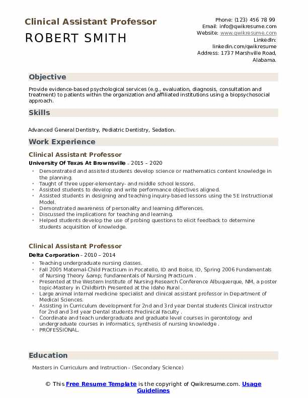 clinical assistant professor resume samples  qwikresume