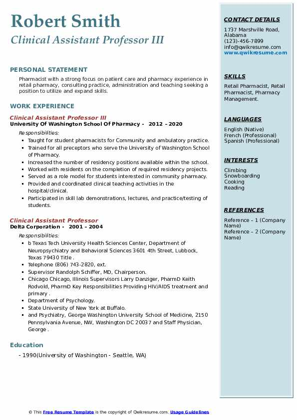 clinical assistant professor resume samples